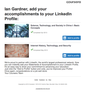 LinkedIn Coursera Email