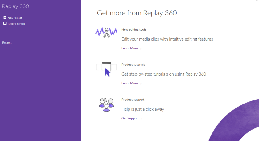 Replay home page